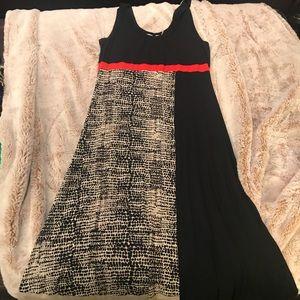 Calvin Klein maxi dress. Black, orange and cream S